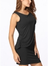 Nueva celebridad Sexy mujer vestido superposición de volantes cuello redondo sin mangas fiesta Bodycon vestido Mini negro/de color caqui y azul