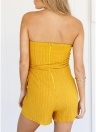 Женщины с плеча Playsuit Tie Waist Back Zipper Jumpsuit Romper Bodysuit