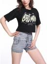 Stampa lettera di moda donne estate t-shirt giro collo manica corta casuale Crop Top nero