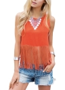 Sexy Tassel Patchwork O-Neck V Backless Button Asymmetric Hem Tank Top