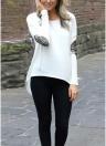 Neue Mode Frauen T-Shirt Patchwork Ellenbogen Runde Hals Langarm asymmetrische Saum lässig Top