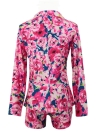 Plus Size Floral Print Notched Collar Long Sleeve Blazer with Shorts Twinset