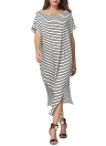 Striped Batwing Off Shoulder Split Asymmetric Plus Size Women's Loose Maxi Dress