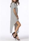 Полосатый Batwing плеча Split Asymmetric Плюс Размер Женская Сыпучие Maxi платье