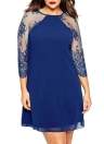 Fashion Lace 3/4 Raglan Sleeve O Neck Plus Size Chiffon Casual Shift Dress