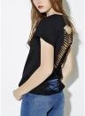 Nueva camiseta de las mujeres de moda de verano redondo hueco de manga corta cuello a tapas nuevo sólido negro