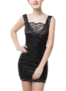Backless Spaghetti Strap Bodycon Club Black Lace Dress