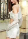 Neue Mode-Frauen-zweiteiliger Set Anzug Volltonfarbe HГ¶hlen Langarm elastische Taille selbst binden Strand Twinset weiß