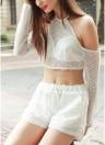 Nueva moda mujer dos Set juego salida de manga larga hueco de Color sólido elástico de la cintura uno mismo-ate la playa conjunto blanco
