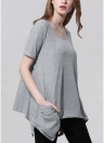 Fashion Casual Knitting Short Sleeve Pockets Asymmetric Hem Grey T-shirt