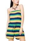 Casual Slash Neck Contraste Stripe Imprimir Drawstring Cintura Beach Romper