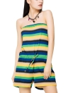 Casual Slash Neck Contraste Stripe Imprimir Drawstring Cintura Beach Romper