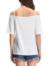 Casual Slash Neck à manches courtes Asymétrique Hem Letter Print T-shirt blanc