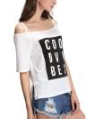 Casual Slash Neck Short Sleeve Asymmetric Hem Letter Print White T-shirt