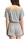 Casual Off Shoulder Elastic Waistband Front Pockets Grey Romper