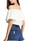 Chic Boho Off Shoulder Stretch Trim Frilled Overlay Solid Crop Top