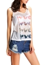 Neue Art und Weise Frauen Halb Sheer Tank Top Brief Druck O-Ansatz Sleeveless beiläufige Hemd-Spitze Weste weiß