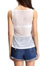 Nuove donne di modo semi-velato Canotta Stampa Lettera O-Collo senza maniche casuale camicia maglia della parte superiore bianca