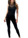Sexy Mesh Sleeveless Sport Fitted Round Neck Jumpsuit