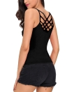 Nuove donne sexy Criss Cross Top cinghia di spaghetti con scollo a V senza maniche Backless Bodycon Tank Top T-shirt Watermelon Red / Black