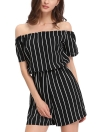 Sexy Off Shoulder Black White Stripe Jumpsuit