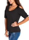 Cold Shoulder Sexy Scoop Neck 3/4 Sleeve Blouse