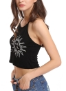 Sexy Sun Moon Black Halter Crop Top