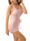 Sexy Femmes court Bodycon Jumpsuit Halter Strap Lace Up Backless Playsuit solides Casual Beach Club Grenouillère Blanc / Rose