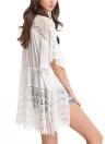 Neue Frauen-Chiffon-Oberbekleidung vorne offen Floral Crochet Fledermaus Ärmel Kordelzug dünnes loses Strand-Vertuschung-Weiß