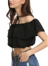 New Fashion Women Chiffon Crop Top Off the Shoulder Tie Neck Elastic Trim Cropped Top Black