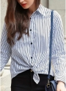 Stripe Print Point Collar Button Long Sleeve Blouse