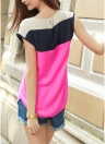 Color Block Asymmetric Hem O Neck Blouse
