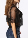 Sheer Lace Embroidery High Neck Mesh Shirt