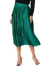 New Brève l'Europe Jupe plissée couleur unie taille haute élastiquée Lined Midi Jupe