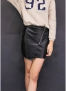 PU Skirt Front Zipper Split Bodycon Mini Black Skirt