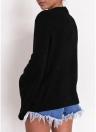 Les pulls molletonnés des femmes évadent les manches longues couleur unie décontractée élégante haut pull