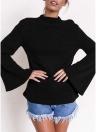 Sudaderas para mujer Flare Long Sleeves Solid Color Casual Elegante Top Pullover