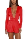 Mono Color sólido Plunge V cuello manga larga Casual Slim corto Playsuit mamelucos