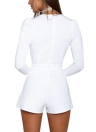 Jumpsuit Solid Color Plunge V Neck Long Sleeve Casual Slim Short Playsuit Rompers
