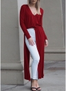 Sexy Women Split  Barelegged V Neck Long Sleeve Long Clubwear Party Blouses