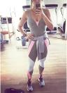 Yoga Set Contrast Color Bandage Backless Sleeveless Fitness Jumpsuits Bodysuits