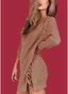 Sexy invierno mujeres con cordones o cuello manga larga dividir prendas de punto