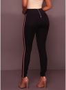 High Waist Trousers Slim Leggings Side Striped Back Zipper Skinny Pencil Pants