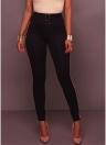 Pantalones de cintura alta Leggings finos Pantalones de pinzas pitillo con cremallera lateral a rayas
