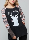 Autumn Women Christmas Reindeer Print O-Neck camiseta de manga comprida T-Shirt