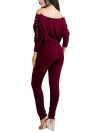 Solide schulterfrei Jumpsuit Schnürung Bandage Bodycon Clubwear Strampler Overall