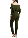 Solid Off Shoulder Jumpsuit Lace Up Bandage Bodycon Clubwear Romper Playsuit