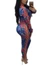 Traje de traje de manga larga de dos piezas Conjunto de cremallera de cintura elástica Crop Top Pantalones Set