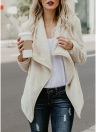 Women Faux Fur Fleece Waterfall Drape Coat