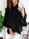 Turtleneck Wrap Batwing Sleeve Poncho